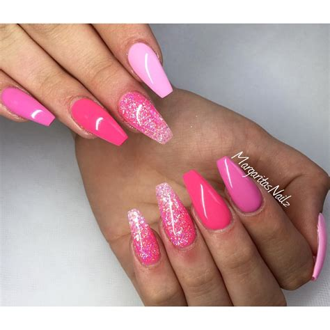 moon shape ombre glitter nail art pinterest shades of pink coffin nails glitter ombr 233 summer nail art