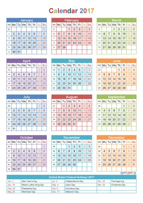 printable calendar by week 2017 weekly number calendar 2017 printable 2017 calendars