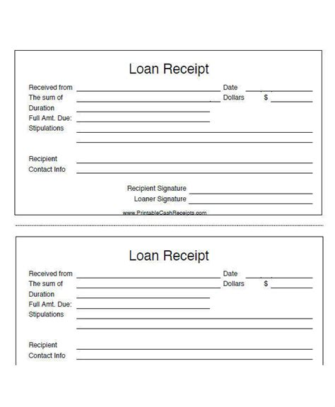 personal loan template 8 loan receipt template exles in word pdf