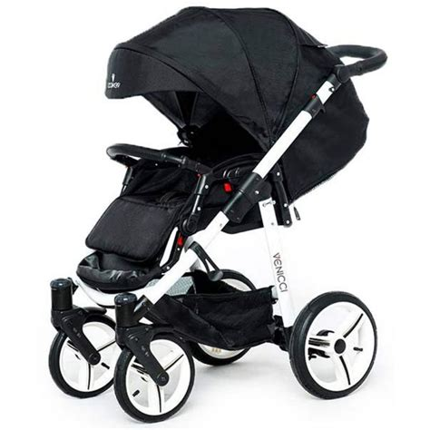 3in1 White venicci soft white chassis 3in1 travel system black
