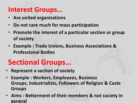 exles of sectional interest groups gender religion caste