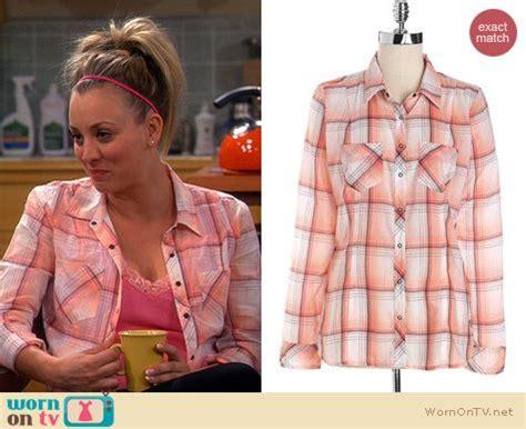 Big Theory Wardrobe by Wornontv Penny S Orange Pink Plaid Shirt On The Big