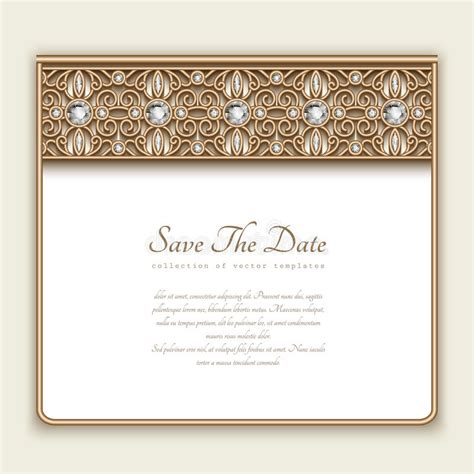 vintage gold card with diamond jewelry border stock vector