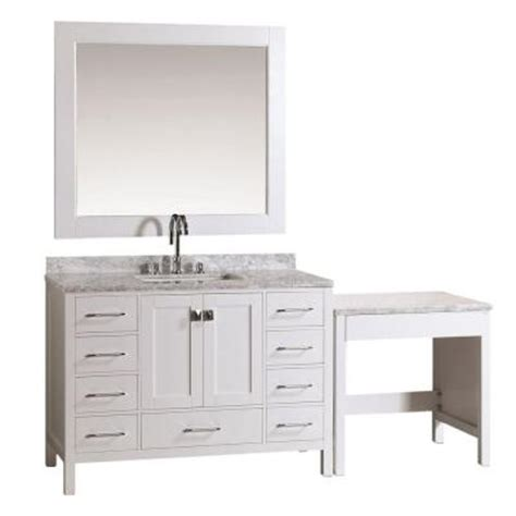 Home Depot Makeup Vanity by Design Element 48 In W X 22 In D Vanity In White With Marble Vanity Top In Carrara