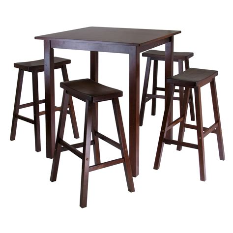 Kitchen Bar Table And Stools Winsome S Parkland 5 Square High Pub Table Set In Antique Walnut Finish