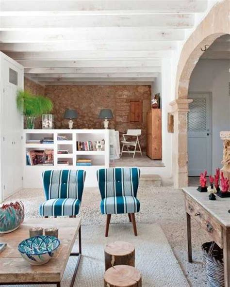 modern interior design  decorating  mediterranean style emphacizing vintage stone walls