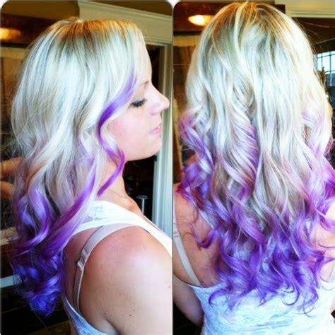 dip dye hairstyles brown and blonde platinum with purple indigo dip dyed ends hair colors ideas