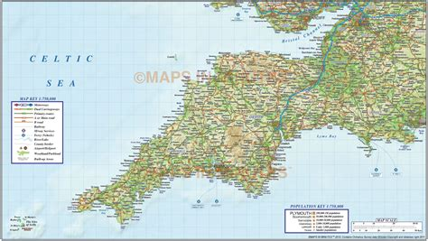 map of south west south west political county road rail map with