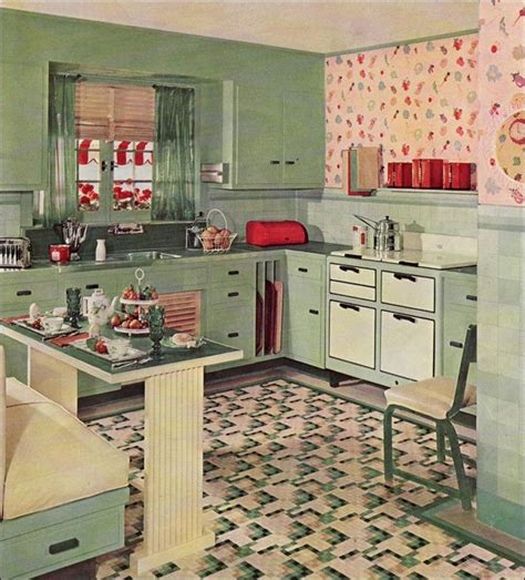 retro kitchen design 1935 cute vintage kitchen by armstrong linoleum eat in kitchen design from the 1930s