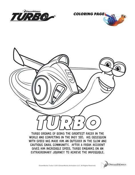 dreamworks turbo coloring pages more turbofastfun she