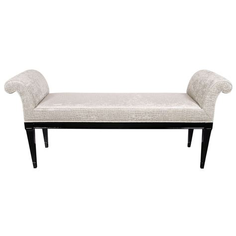 scroll arm bench mid century modernist scroll arm design bench in