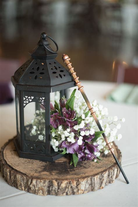rustic lantern wedding centerpiece   harry potter themed
