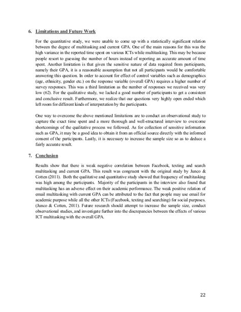 Obst 520 Research Paper by Effect Of Multitasking On Gpa Research Paper