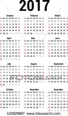 clipart calendario clip of calendar 2017 k20929897 search clipart