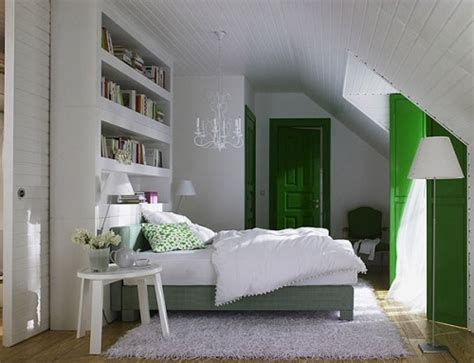 white and green bedrooms attic bedrooms