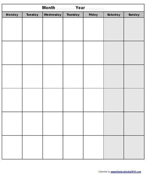 blank monthly calendar template monday through friday printable monday to friday calendar calendar 2018 printable