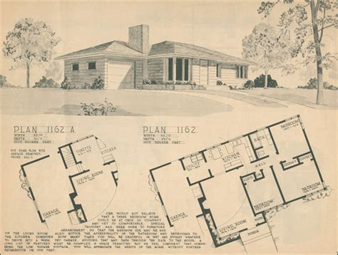1950 modern ranch style home building plan service