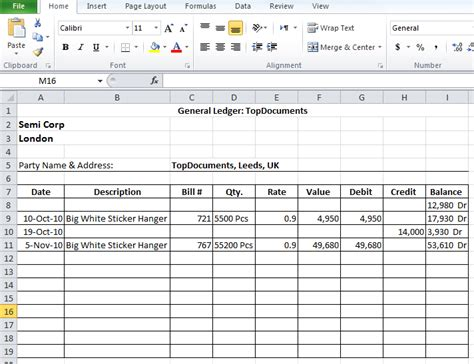 bookkeeping layout general ledger templates in excel format xlsx