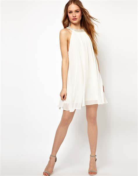 white swing dress jarlo embellished collar swing dress in white cream lyst