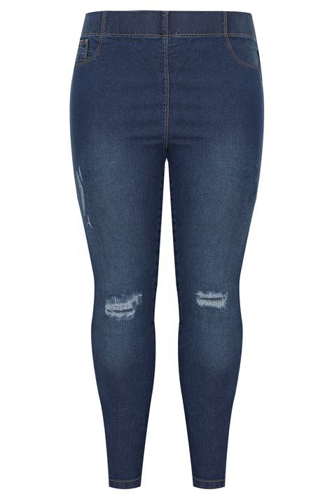 text color fader blue rip repair jeggings plus size 16 to 36