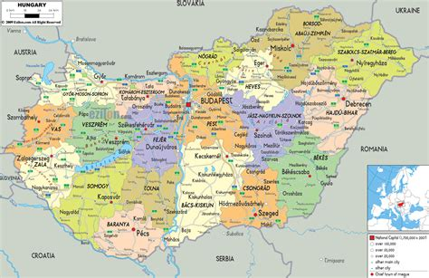 physical map of hungary maps of hungary detailed map of hungary in