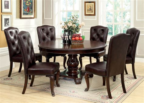bellagio brown cherry round pedestal dining room set from furniture of america cm3319rt table bellagio brown cherry round pedestal dining room set from