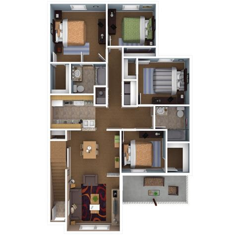 4 Bedrooms Apartments by Apartments In Indianapolis Floor Plans