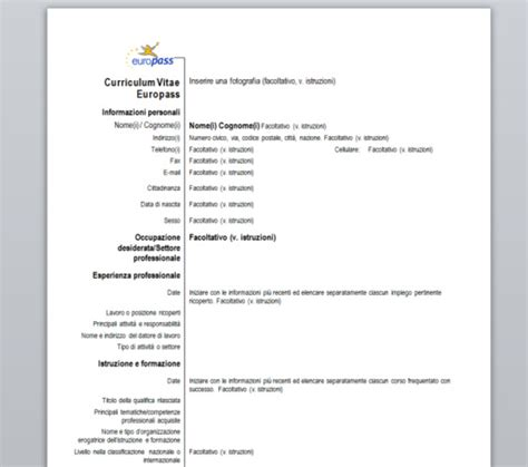 curriculum vitae europeo da compilare download curriculum vitae europass download