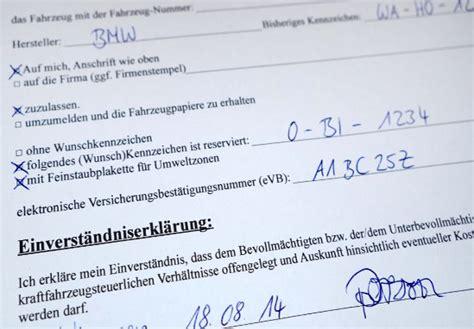 Kfz Versicherung Abmelden Vollmacht by Vordruck Vollmacht F 252 R Kfz Zulassung