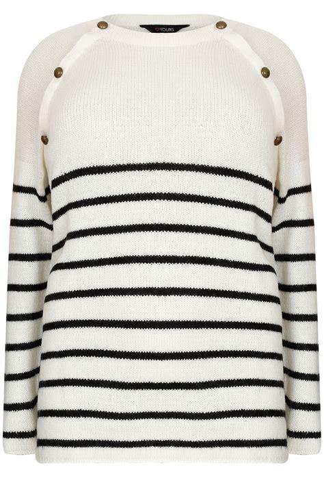 Knit Stripe black stripe knit jumper with bronze buttons plus