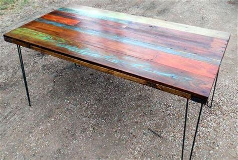 colorful dining table diy colorful top pallet dining table 101 pallets