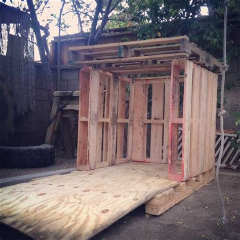plans to make a pallet house pallet playhouse for kids from reclaimed wood pallet furniture plans