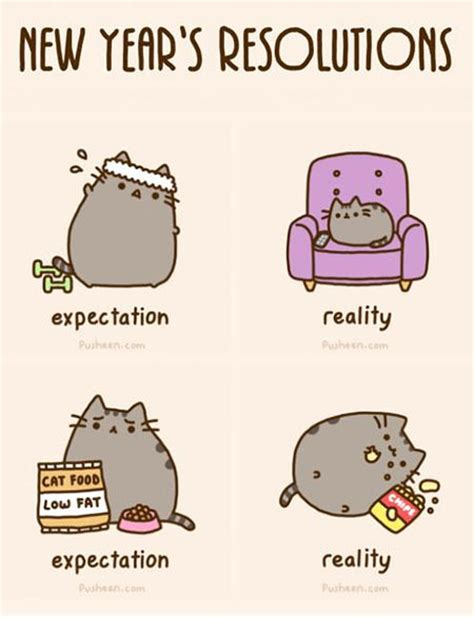 Funny New Year Meme - new year s resolutions pusheen know your meme