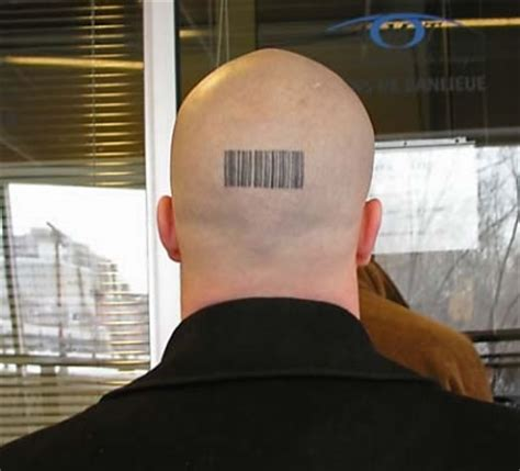 barcode tattoo on head bald man with cool barcode tattoo on back head