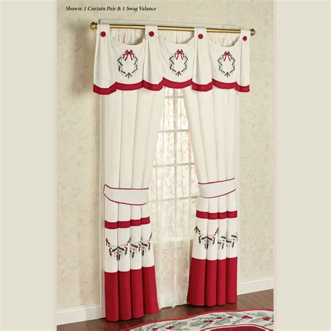 curtains for christmas holly wreath swag valance window treatment