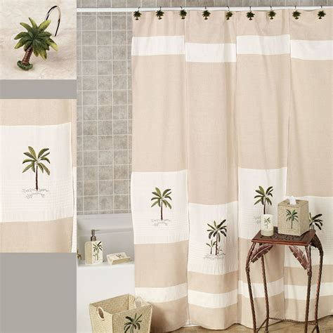 Tropical Shower Curtains Fiji Ii Palm Tree Tropical Shower Curtain By Croscill