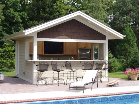 backyard pool house build a bar into the side of your pool house where family