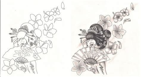 geisha tattoo designs free freebies designs geisha with flowers by