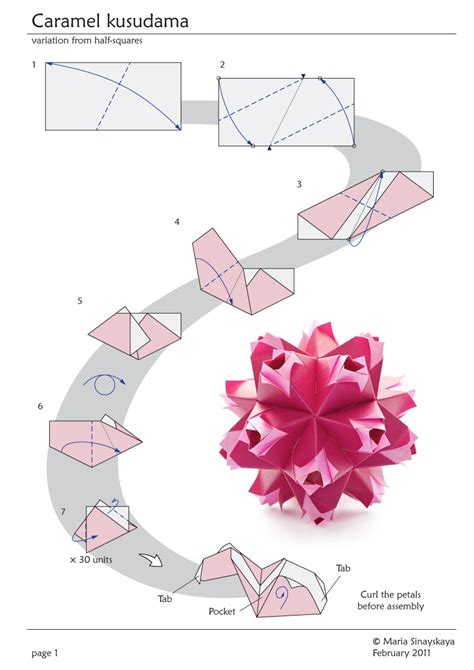 Origami Flower Diagrams - caramel kusudama by sinayskaya diagram go origami