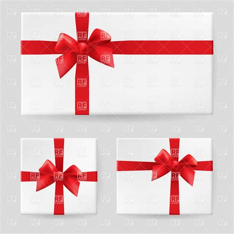 white gift box tied with a red ribbon and bow 7635