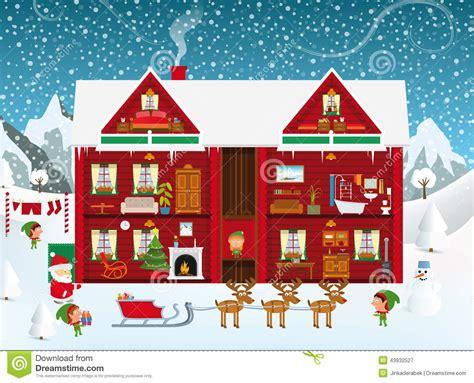 santa house inside the santa 180 s house stock vector image 43932527