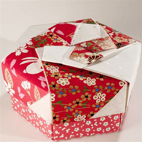 Hexagonal Origami Gift Box - decorative hexagonal origami gift box with lid 07