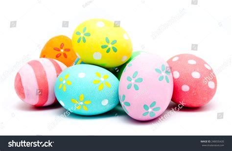 Handmade Easter Eggs - colorful handmade easter eggs isolated on stock photo