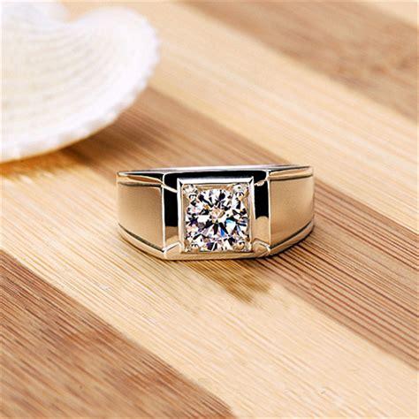 Cincin Berlian Solitaire Pria 1005 1ct berlian sintetis cincin untuk pria keterlibatan