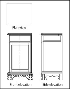 orthographic views   piece  furniture showing  plan view front elevation  side