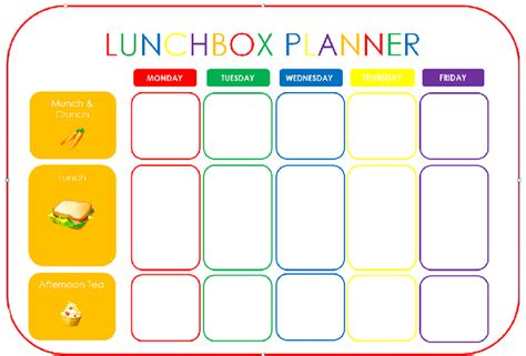 lunch box planner template starting school lunchbox preparation there was a