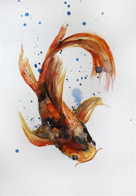 koi fish watercolor paintings original watercolor painting koi fish gold fish sea room