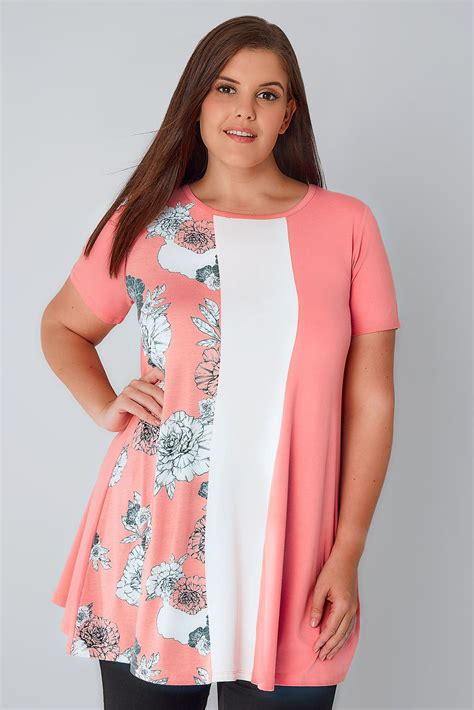 pink swing top pink white swing top with floral panel plus size 16 to 36