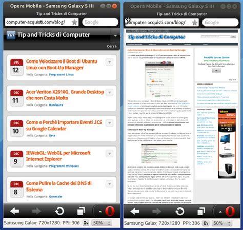 miglior sito mobile opera mobile emulator il migliore per testare il sito web