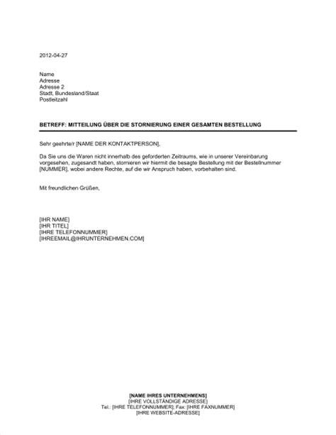 Muster Angebot Reise Mitteilung 252 Ber Die Stornierung Einer Gesamten Bestellung Vorlagen Und Muster Biztree